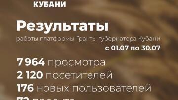Подводим итоги первого месяца работы платформы «Гранты губернатора Кубани»